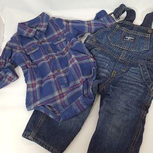 OshKosh B'gosh Denim Flannel Winter Set 9m